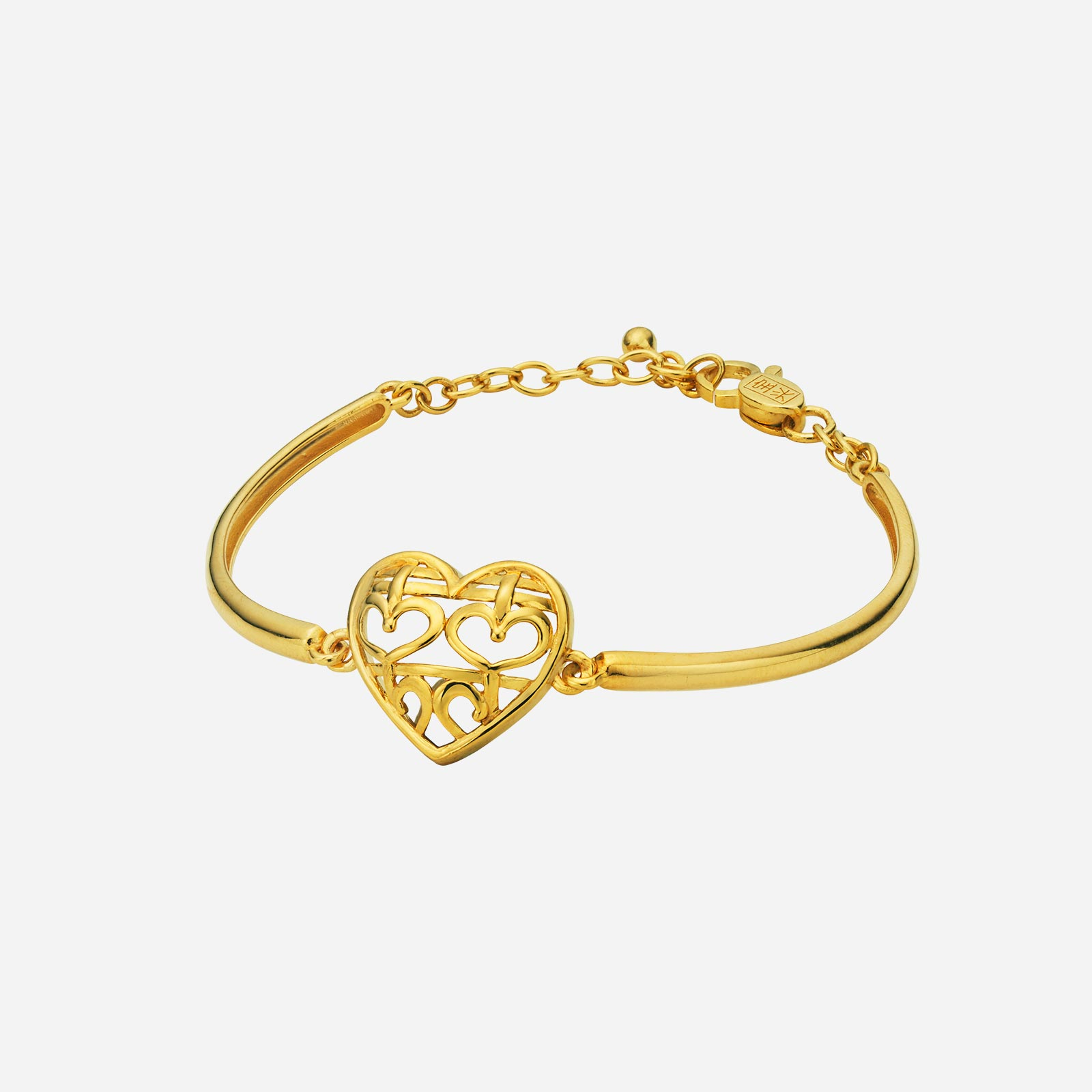 Double Happiness Heart Bangle
