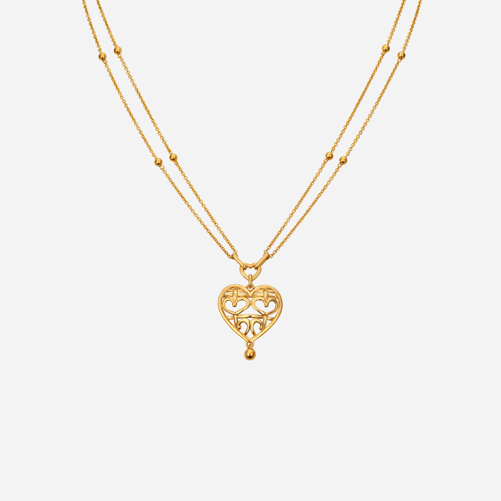 Double Happiness Heart Necklace