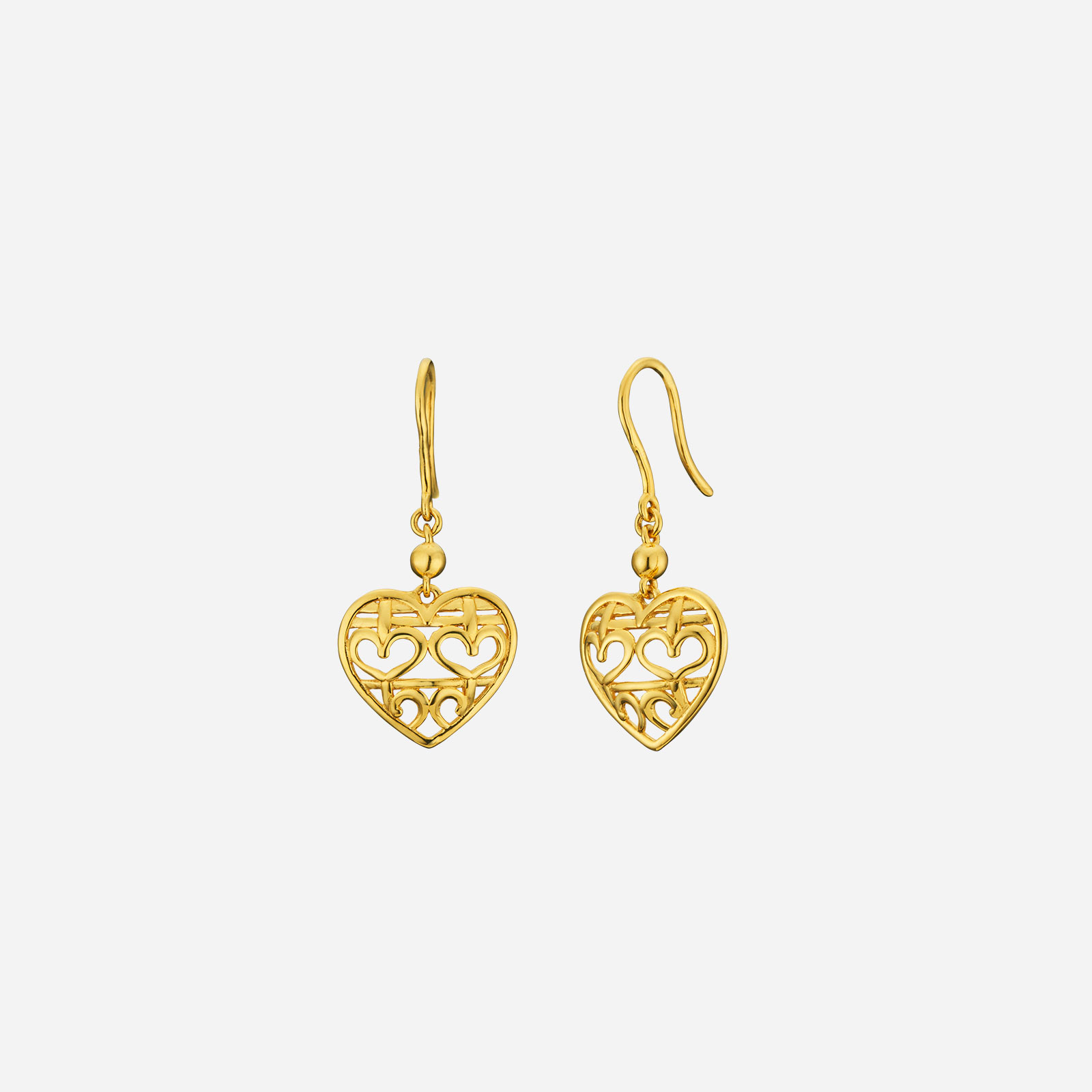 Double Happiness Heart Earrings