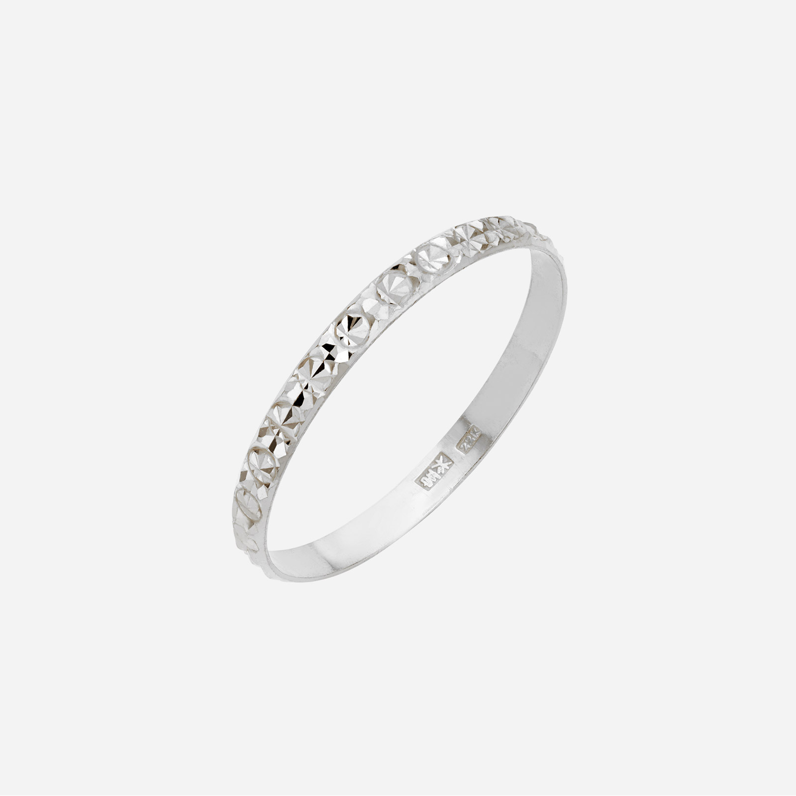 White Gold Textured Ring