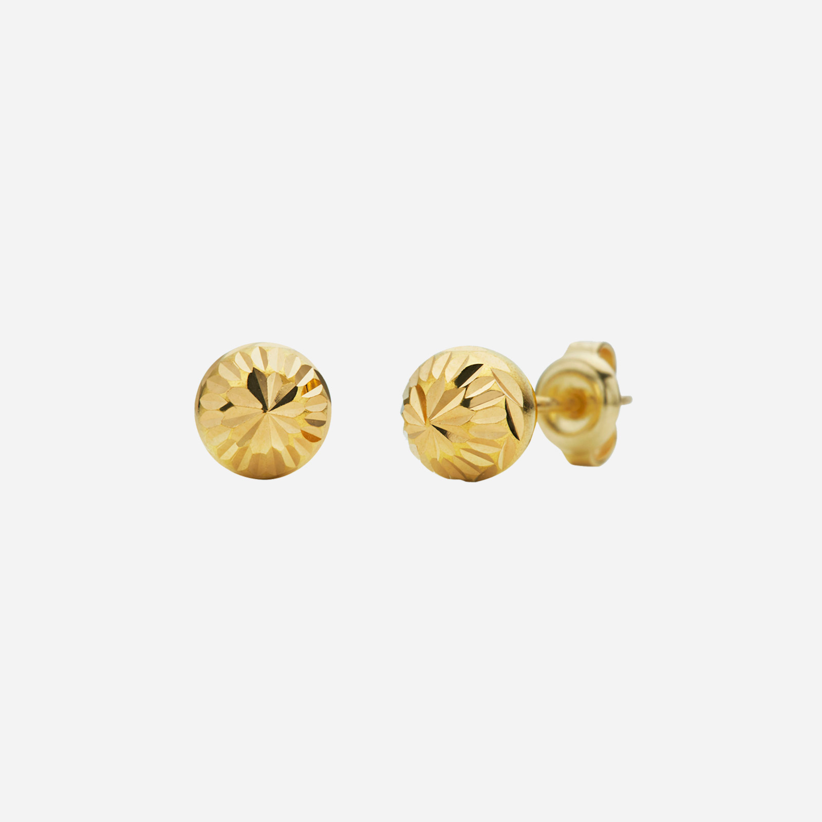 Gold Textured Earrings (7mm)