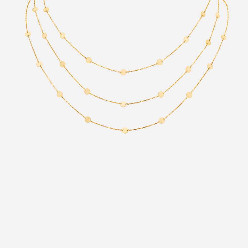 Freestyle Triple Chain Disc Necklace
